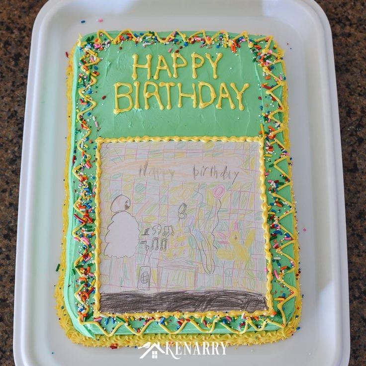 Wondrous Art Cake Easy Birthday Party Idea Using Kids Artwork Ideas For Birthday Cards Printable Benkemecafe Filternl
