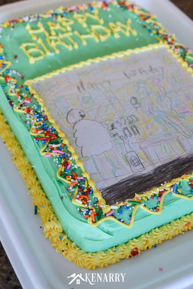 Admirable Art Cake Easy Birthday Party Idea Using Kids Artwork Ideas For Birthday Cards Printable Giouspongecafe Filternl