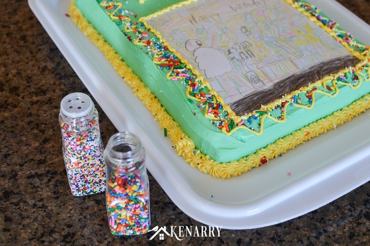 Art Cake: Easy Birthday Party Idea Using Kid's Artwork | Ideas for