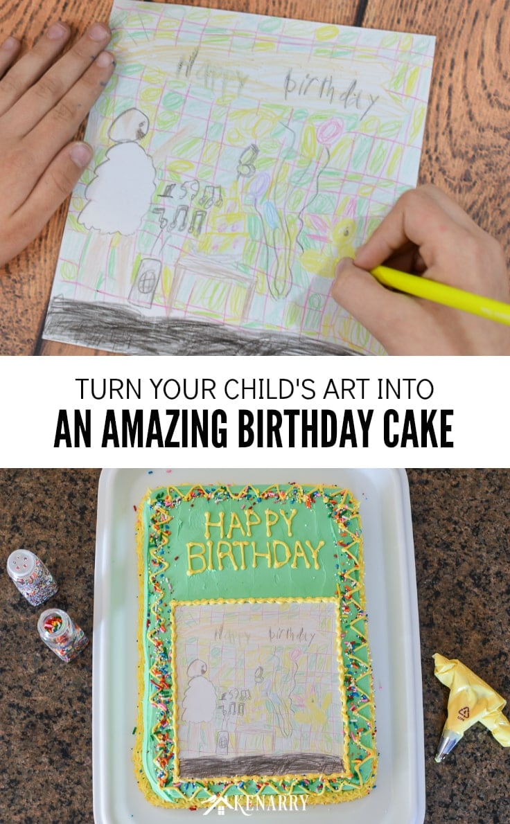 Art Cake Easy Birthday Party Idea Using Kid S Artwork Kenarry