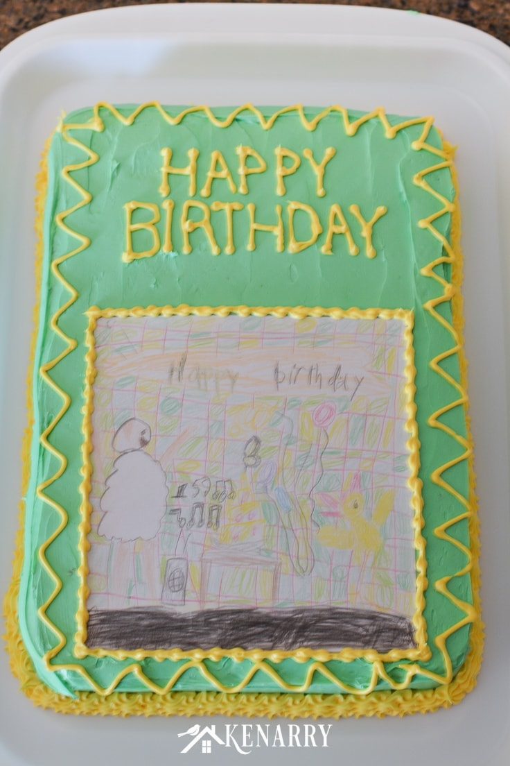 Make your child's artwork or drawing into a creative and fun art cake for a birthday party. This kid's birthday cake idea is so easy anyone can do it!