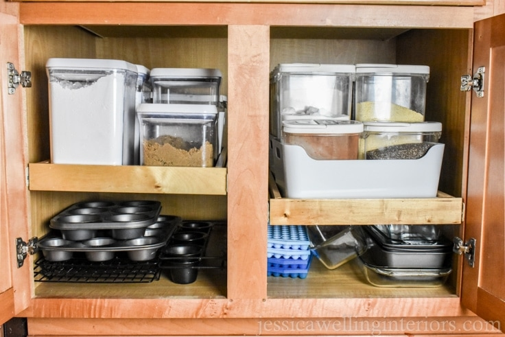 image of cabinet with slide-out drawers and organized baking supplies