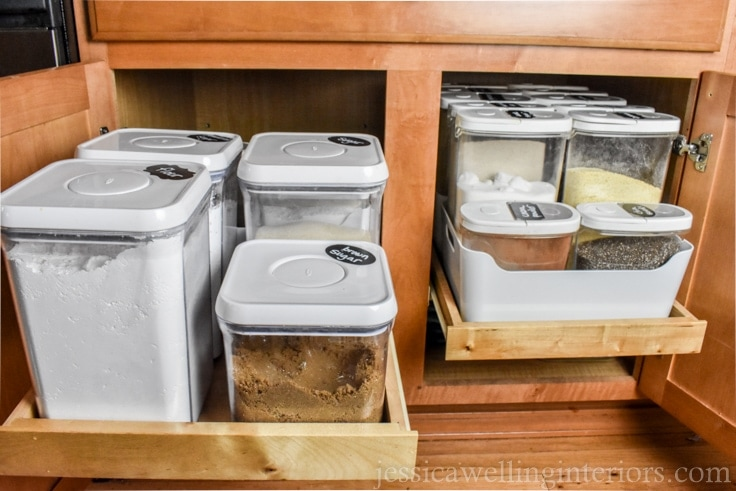 image of cabinets with slide-out drawer and organized baking supplies