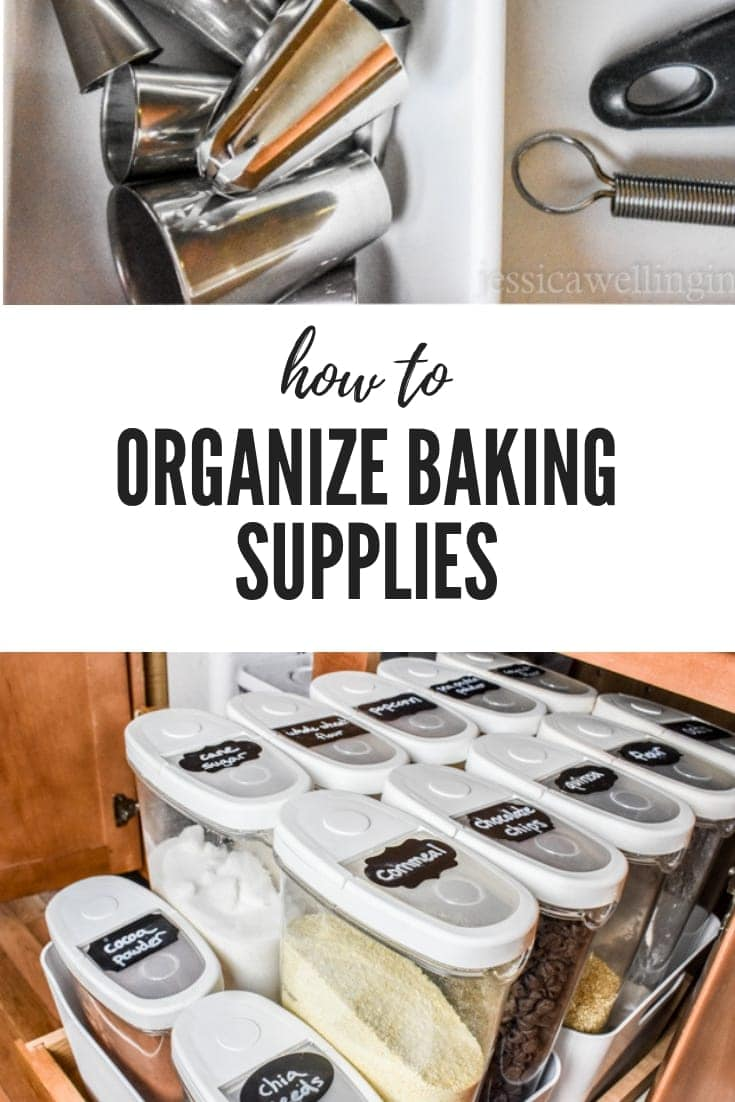 Learn how to organize your baking supplies in a cabinet in the kitchen so your tools and ingredients are all within arm's reach with these storage tips and ideas. Baking and clean-up are so much easier when everything is close! #kitchenorganization #baking #kenarry