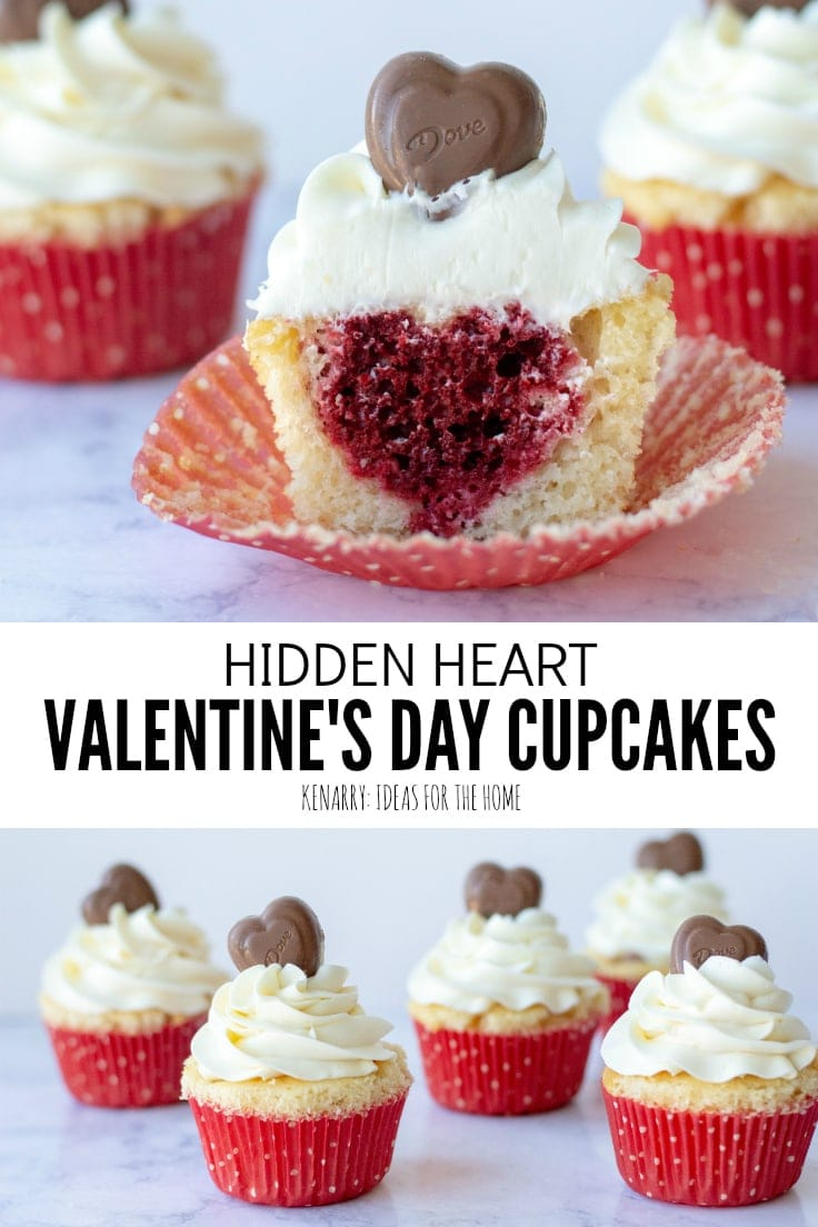 Surprise your sweetheart with this festive Valentine's Day Cupcakes recipe. This fun dessert idea has a hidden red velvet cake heart inside each of these delicious treats that is perfect for kids and adults. #valentines #valentinescupcakes #kenarry