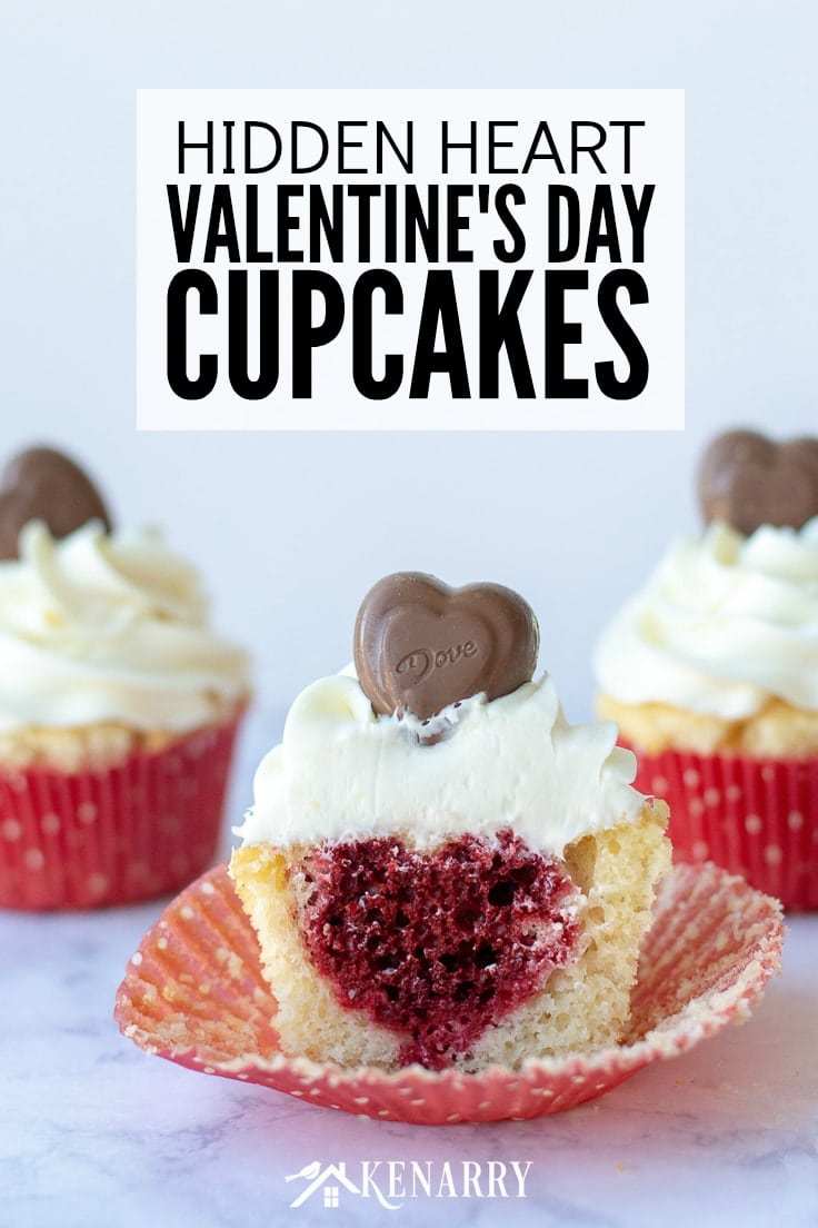 Surprise your sweetheart with this festive Valentine's Day Cupcakes recipe. This fun dessert idea has a hidden red velvet cake heart inside each of these delicious treats that is perfect for kids and adults. #valentines #baking #kenarry