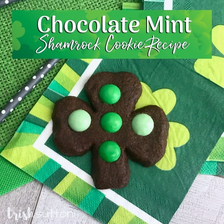 Create easy decorated Chocolate Mint Shamrock Cookies to celebrate St. Patrick's Day and the month of March with this fun and festive dessert recipe. #shamrock #baking #kenarry