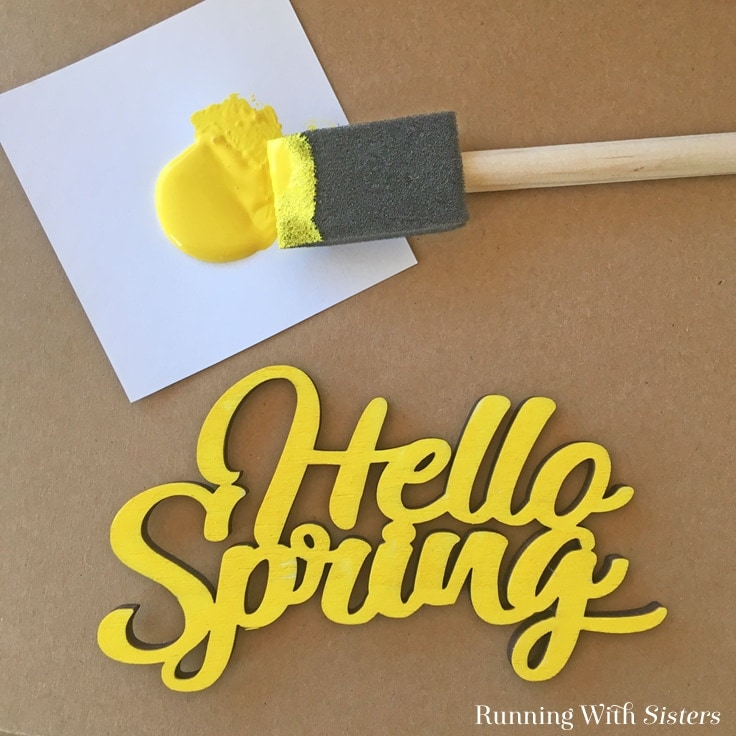 painted hello spring wood sign for front door wreath