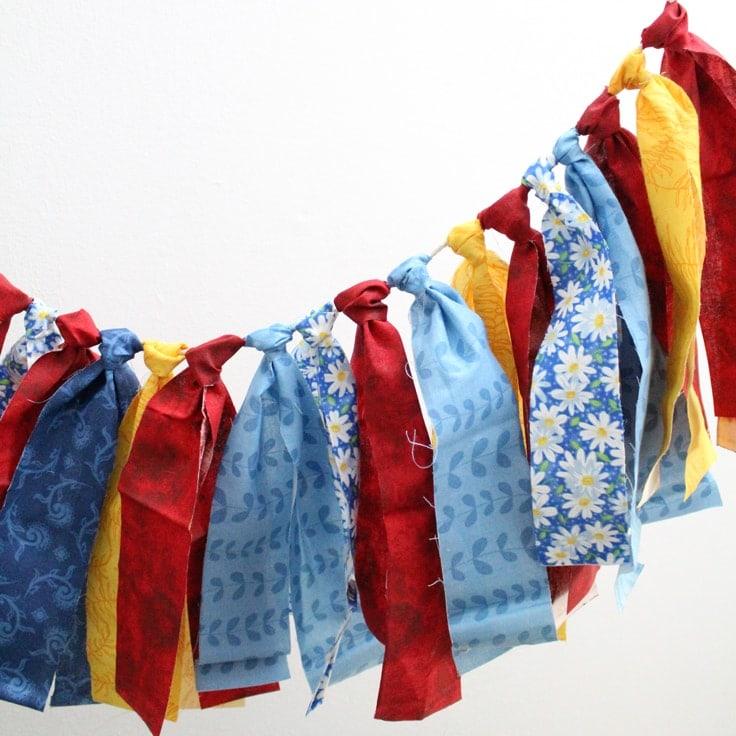 DIY Fabric Garland No-Sew Scrap Buster Project