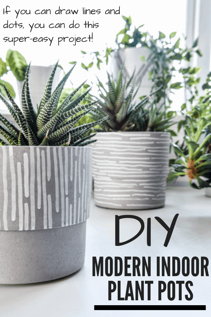 Create your own stylish modern indoor plant pots using inexpensive planters and paint pens. If you can draw lines and dots, you can do this simple project for your houseplants! #indoorplants #planters #kenarry