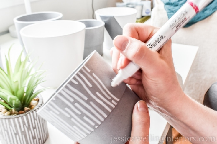 image of paint men and DIY modern indoor plant pots.