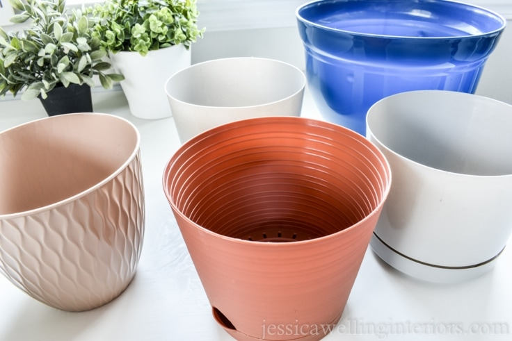 image of modern plant pots from the dollar store