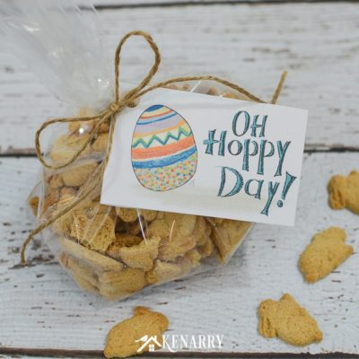 "What a ""hoppy"" day it will be when your kids find these Easter gift tags on the treats in their Easter baskets. Get these free printable Easter cards today."