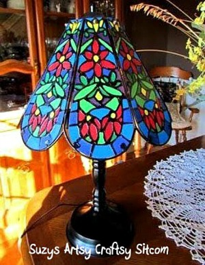 How to create a faux tiffany lamp with just paint and glue!