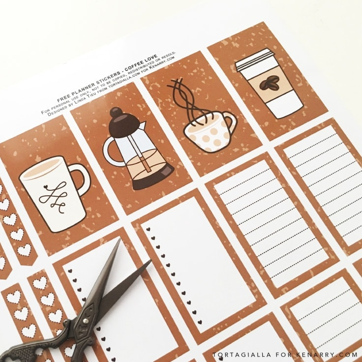 Looking for FREE printable planner stickers to spice up your planning game? Check out these coffee themed designs that you can download and print from home. #plannerstickers #coffee #kenarry