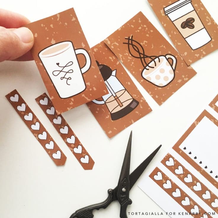 Looking for FREE printable planner stickers to spice up your planning game? Check out these coffee themed designs that you can download and print from home. #plannerstickers #planners #kenarry