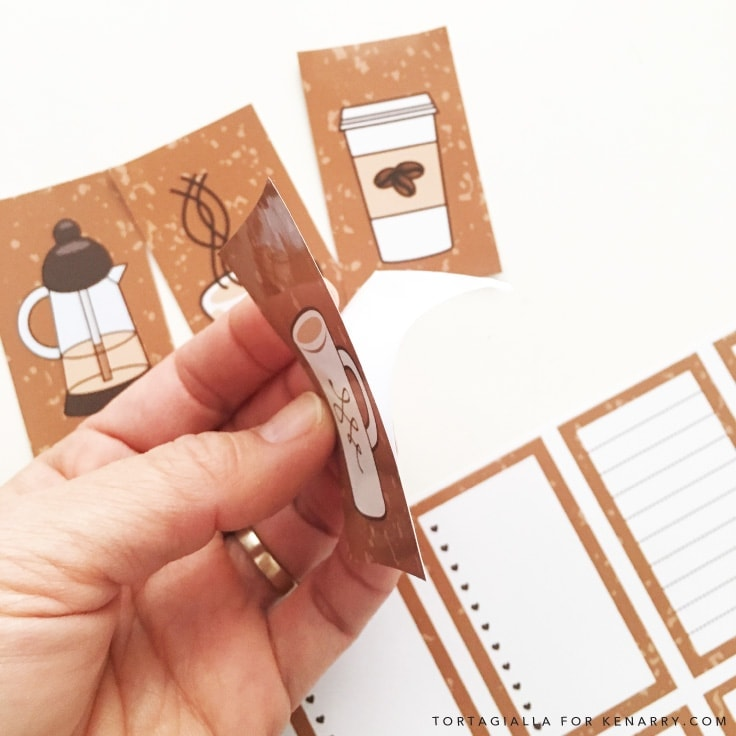 Looking for FREE printable planner stickers to spice up your planning game? Check out these coffee themed designs that you can download and print from home. #printables #planner #kenarry