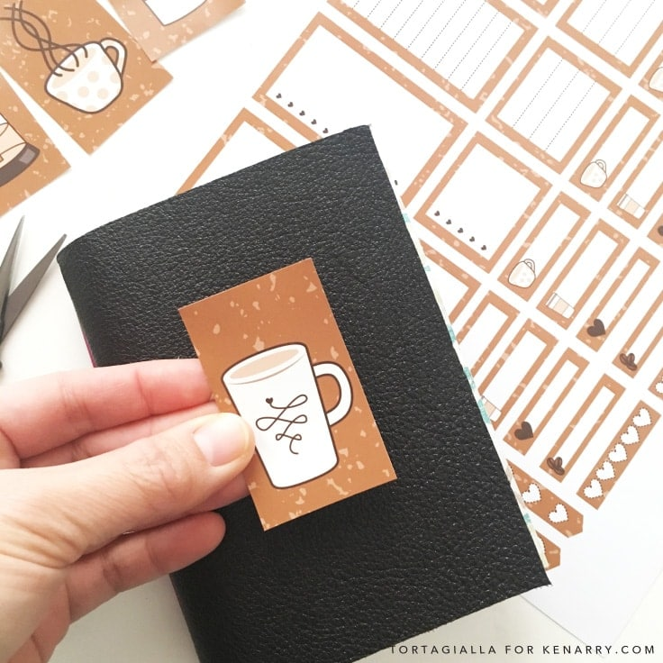 Looking for FREE printable planner stickers to spice up your planning game? Check out these coffee themed designs that you can download and print from home. #plannerprintables #planner #kenarry