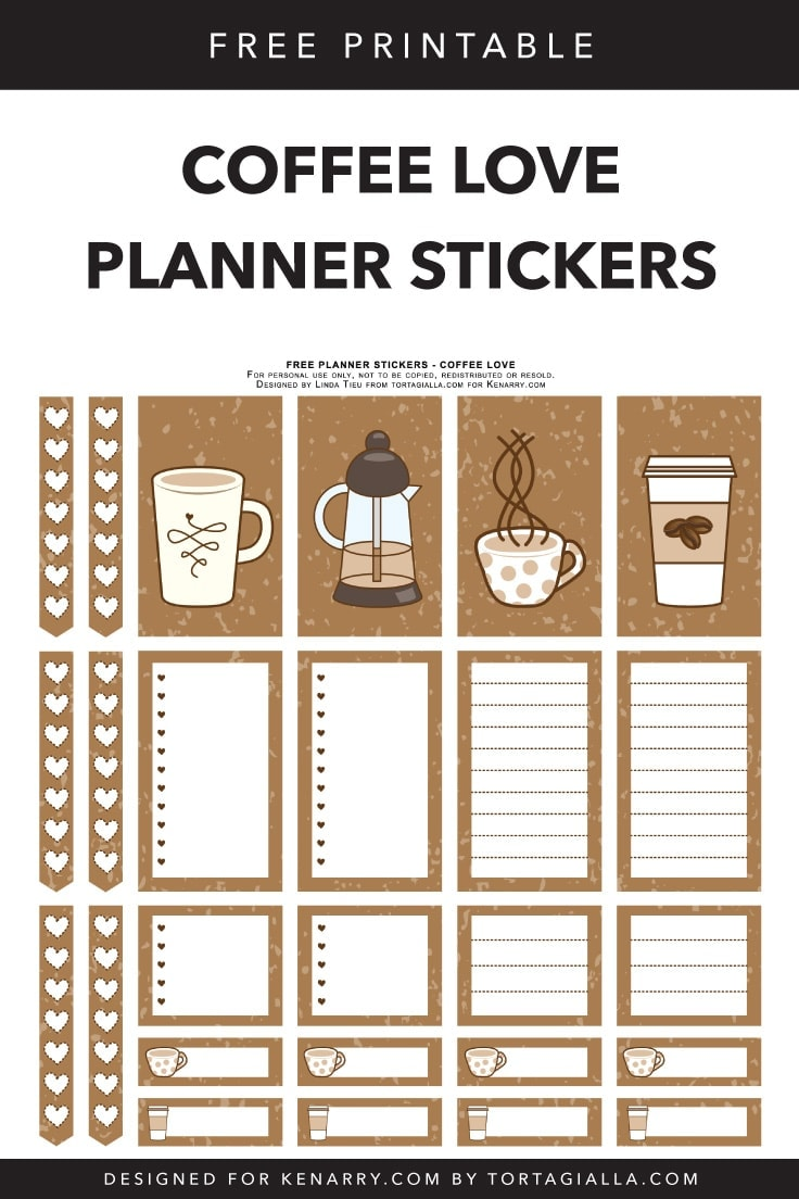 image about Printable Stickers Free called Absolutely free Printable Planner Stickers for Espresso-Fans Guidelines