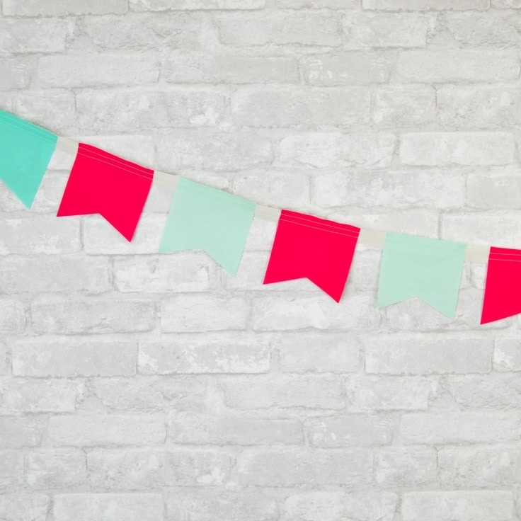 A red and teal bunting