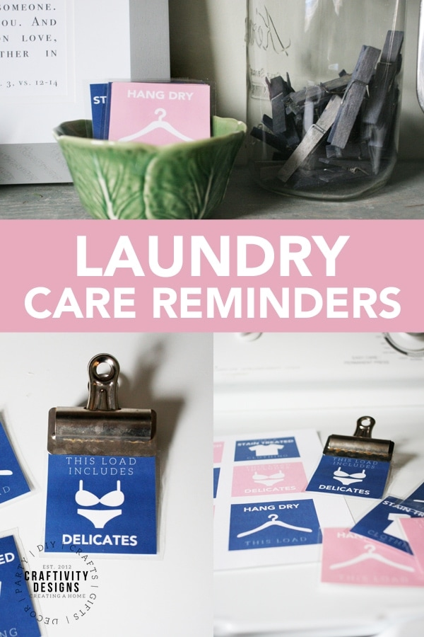 Print a free set of laundry care reminders for the washer. You won't accidentally toss delicates or stain-treated clothing in the dryer with these printables, again! #freeprintables #laundry #kenarry