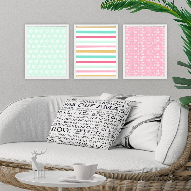 3 examples of Wall Art | Frame printables to use as instant wall decor.