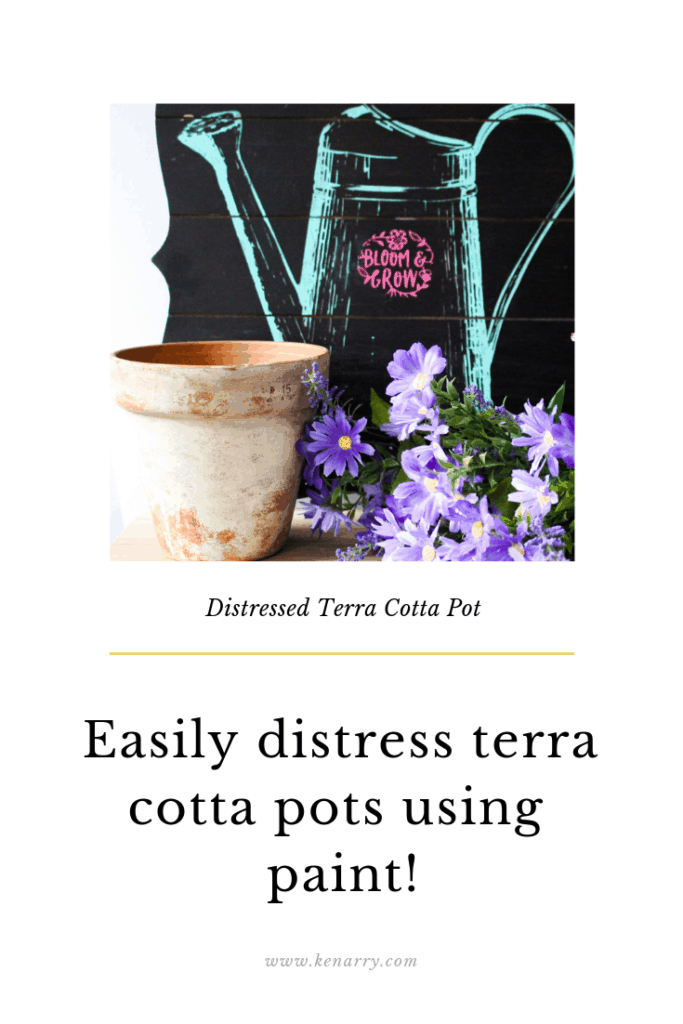 Easily distress terra cotta pots using paint. Our Crafty Mom