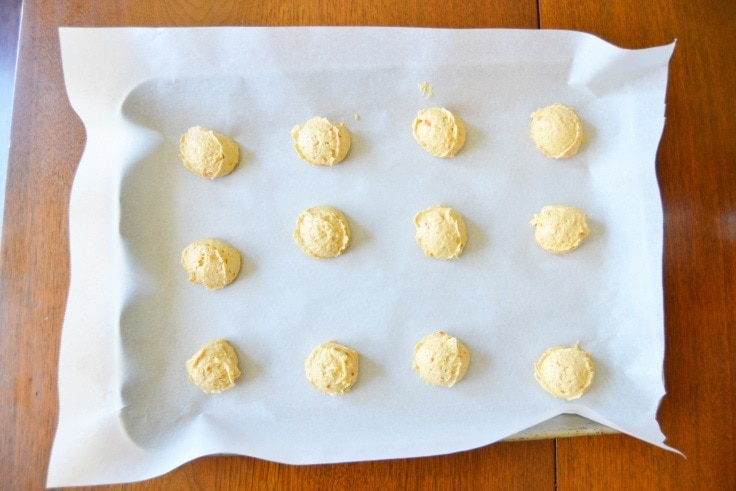 carrot cake cookie recipe - the raw cookie dough on a cookie sheet