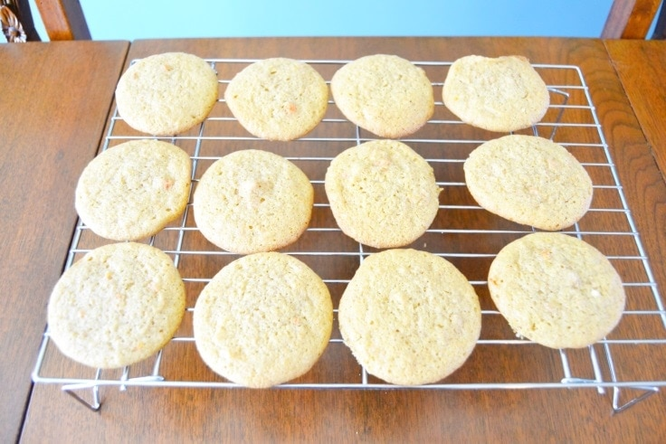carrot cake cookie recipe - cookies cooling on a wire rack