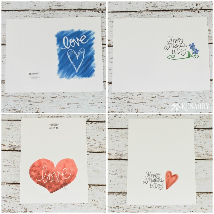 Two free printable mother's day cards spread out. You can see what it looks like out of the printer before you fold them.