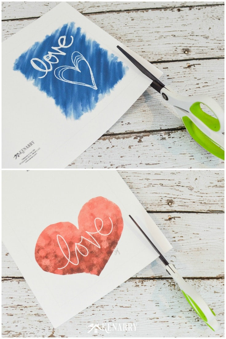 Scissors cutting the DIY Mother's Day printable card.