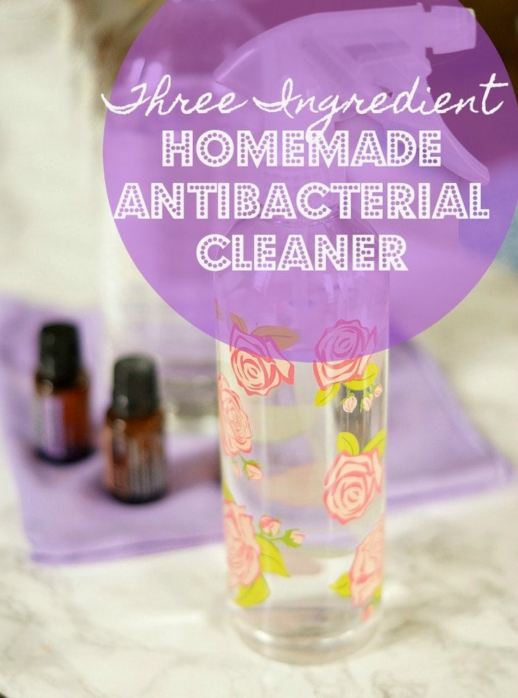 This easy Homemade Antibacterial Cleaner is made with only three ingredients and is good for killing germs and bacteria in nearly every room of your house!