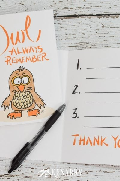 "With this free printable thank you note for teacher appreciation, your child can write 3 things ""owl always remember"" from this school year."