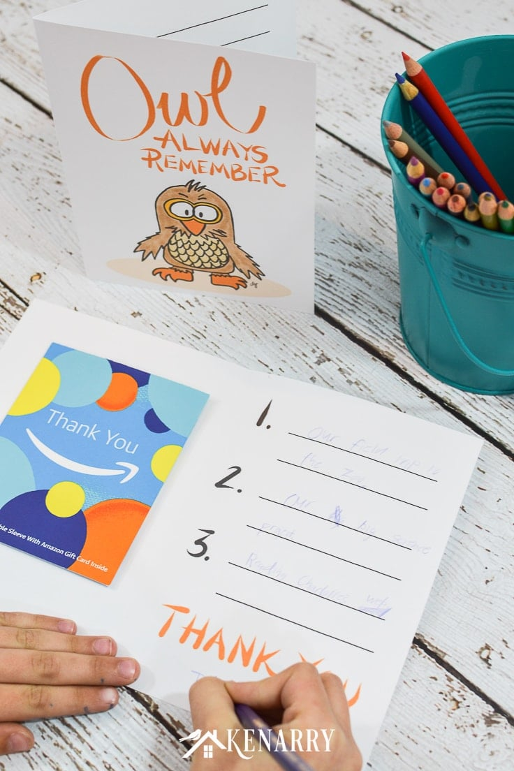 With this free printable thank you note for teacher appreciation, your child can write 3 things