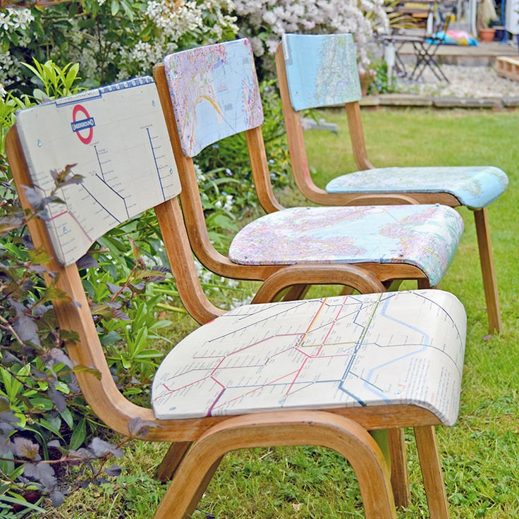 Custom-made maps on chairs.