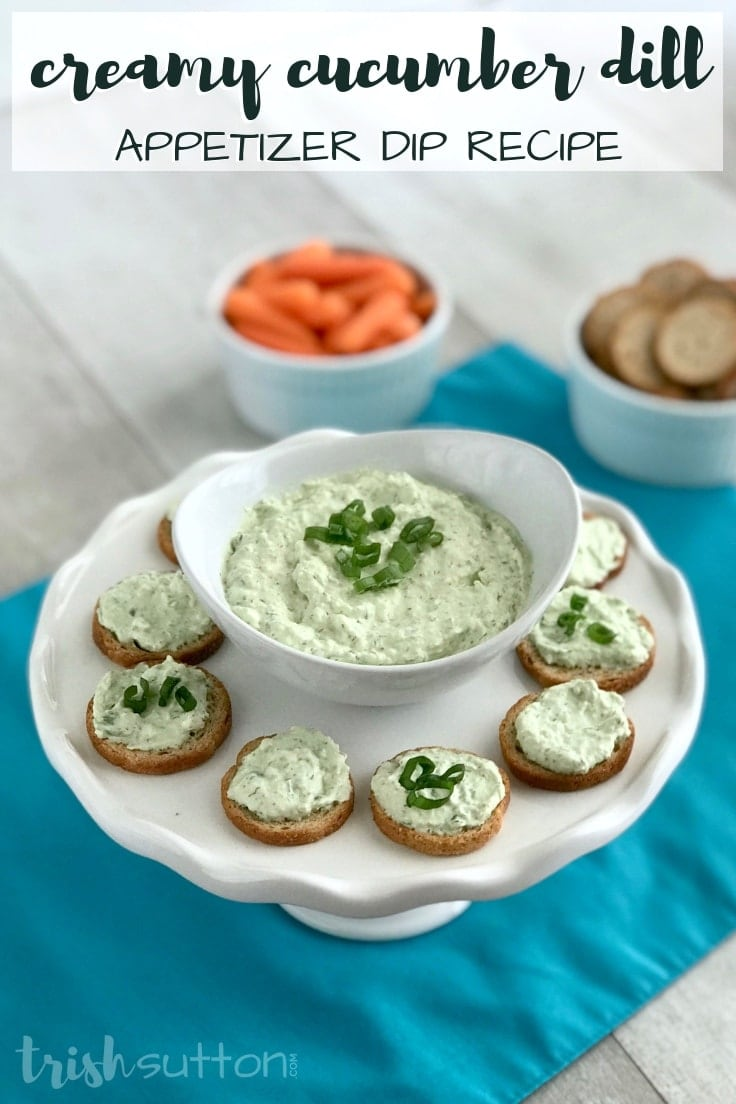 Creamy Cucumber Dill Appetizer recipe made with cream cheese; serve it as a dip or as a spread.
