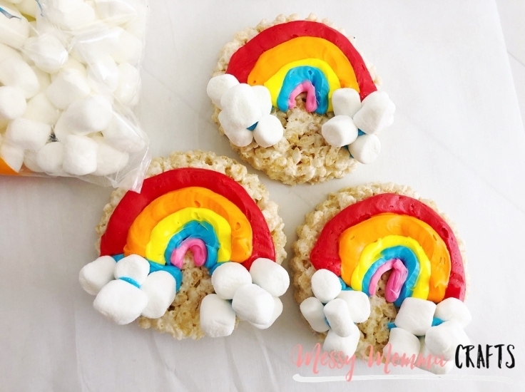 Marshmallows can be clouds on a rainbow Rice Krispie treat.