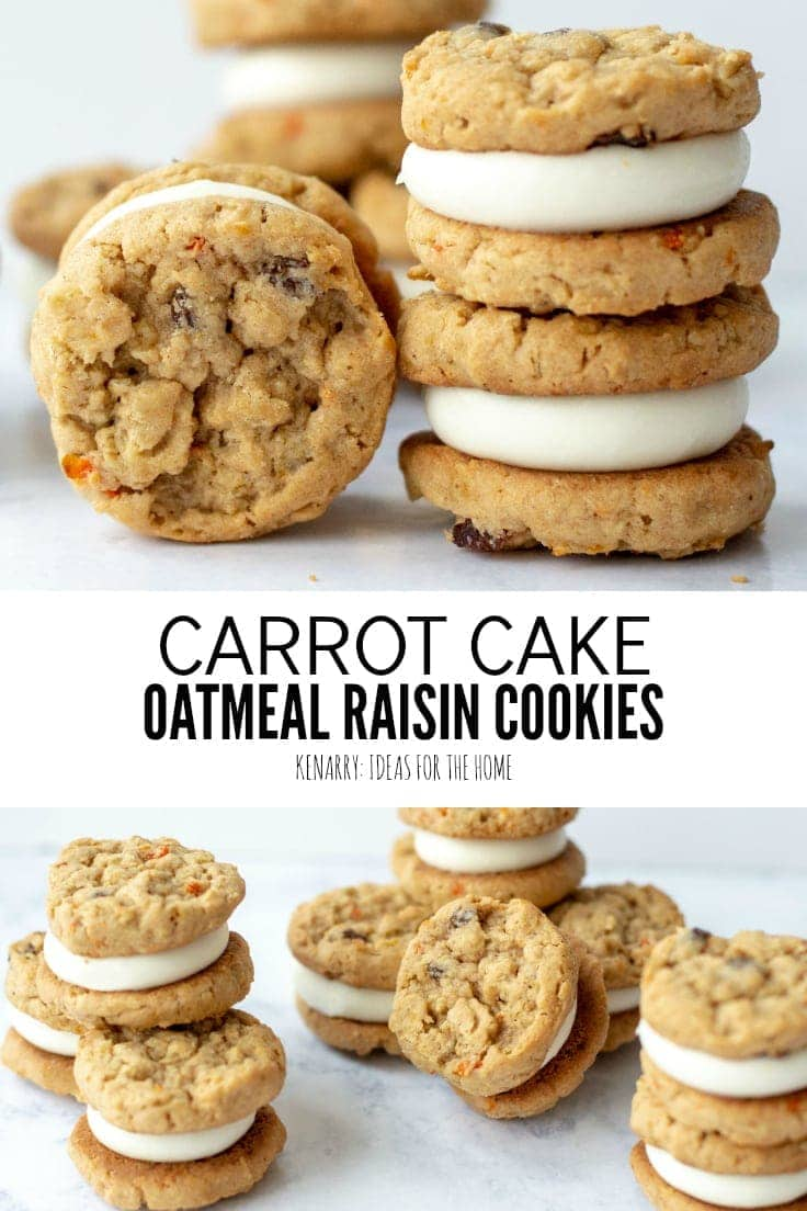 Title on Image: Carrot Cake Oatmeal Raisin Cookies from Ideas for the Home by Kenarry®. Carrot cookies are stacked on top of one another. Each one of these easy spring desserts is a small sandwich with cream cheese frosting in the center.