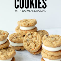 Title on Image: Carrot Cake Cookies with Oatmeal and Raisins. 9 carrot cookies are arranged in stacks of 2 or 3 showing the cream cheese frosting in the center of each sandwich cookie. One of the oatmeal raisin carrot cookies is laying on it's side so you can see the chunks of shredded carrot.