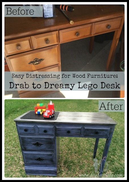 Easy distressing for wood furniture: Drab to Dreamy Lego Desk before and after pictures.