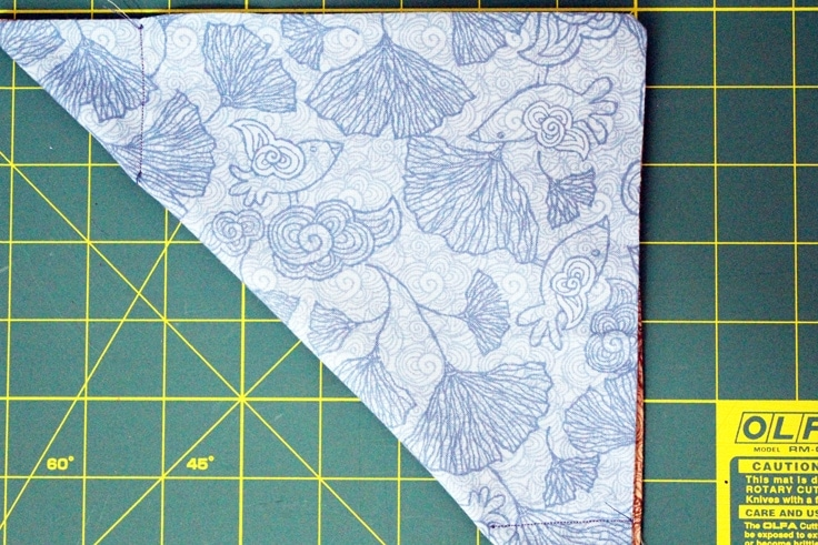 one half of the fat quarter tray corners sewn to create a triangle