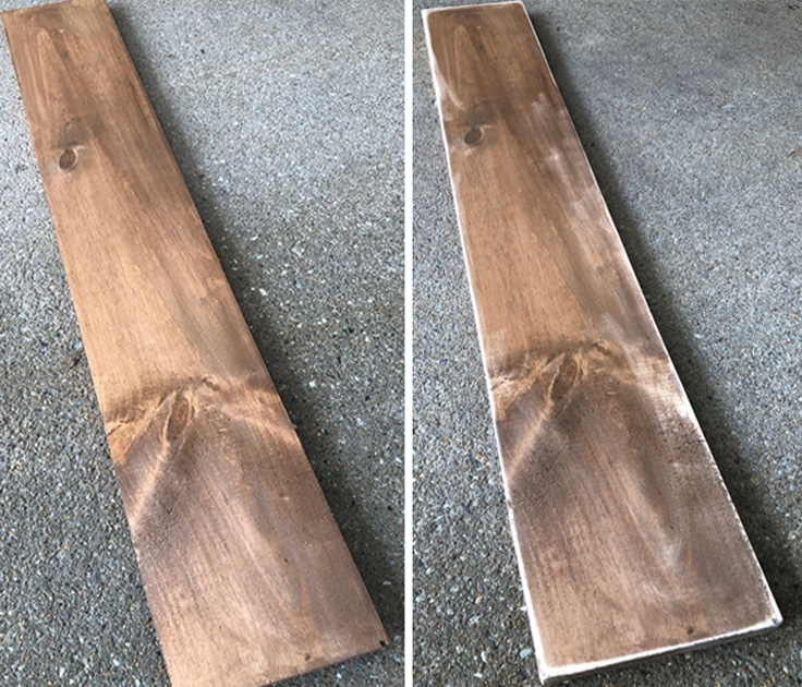 Stained boards for a hanging wall planter