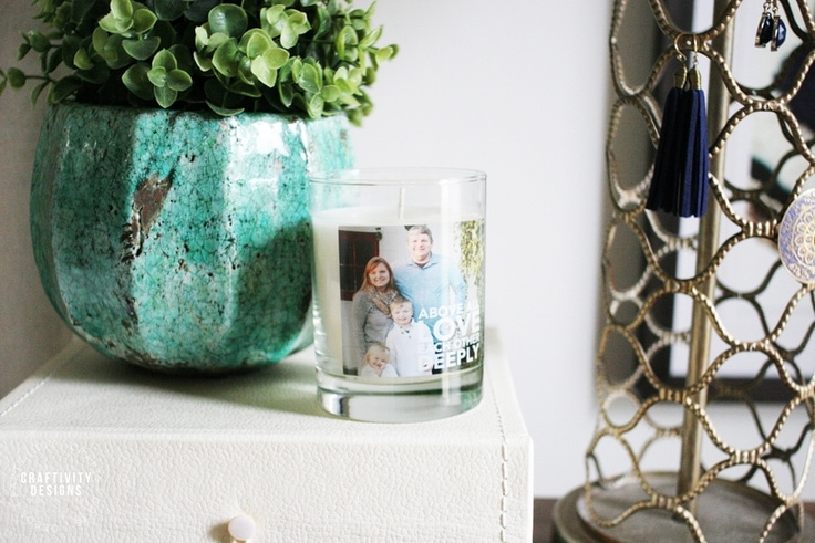 Potted Plant, Personalized Candle, and Decorative Box as Nightstand Decor