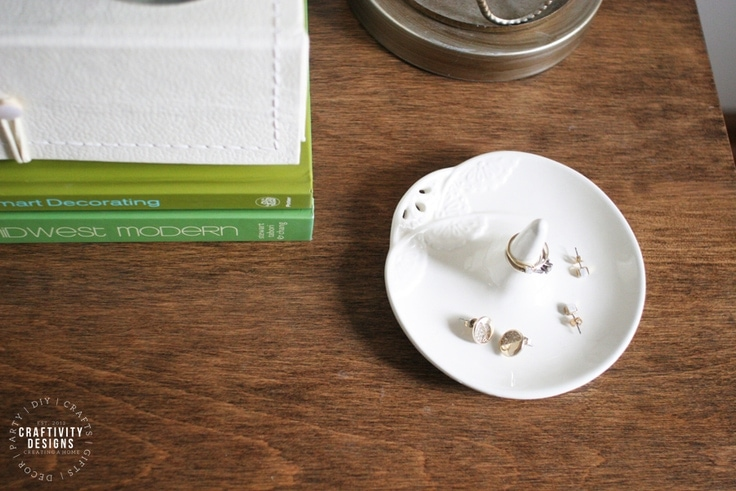 Small White Ring Dish as Nightstand Decor