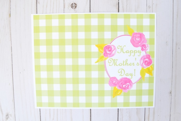 Printable Mother's Day card once it has been printed but before the excess white trim has been cut off around the edges