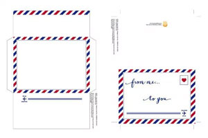 Red and Blue striped airmail design on printable greeting card and coordinating envelope.