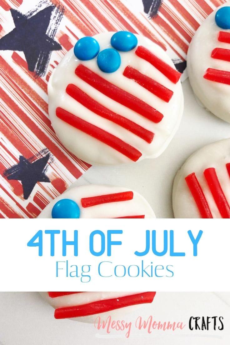 A closeup of the American flag patriotic cookies.