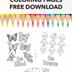 Colored pencils with 3 printable coloring pages featuring butterflies, birdies and a family tree with birds.