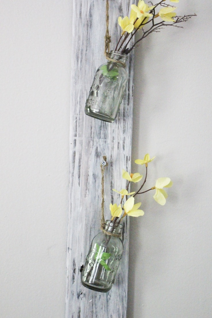 A wall vase out of an old board