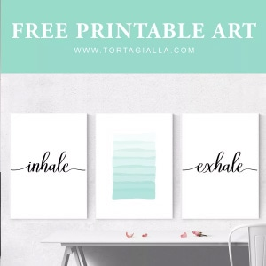 Free printable art set featuring inhale exhale lettering framed above a white desk and chair.